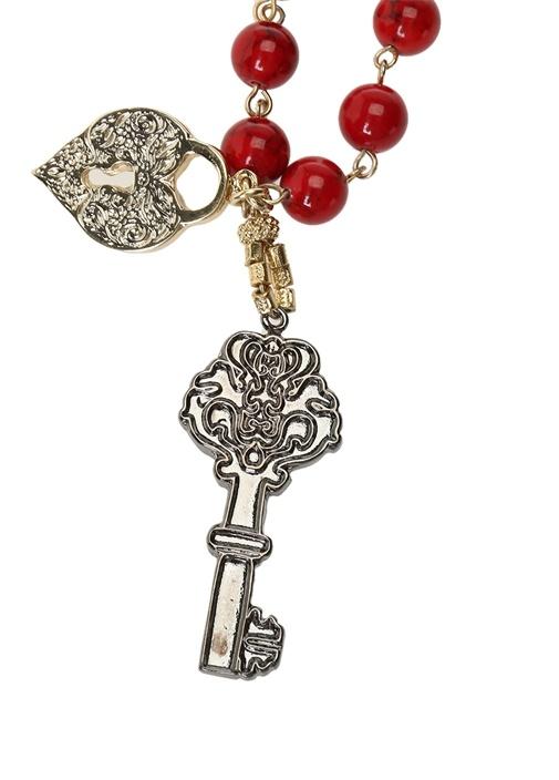 Kırmızı Boncuklu Anahtar Detaylı Kadın Kolye