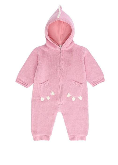 Pembe Kapüşonlu Örgü Dokulu Kız Bebek Tulum