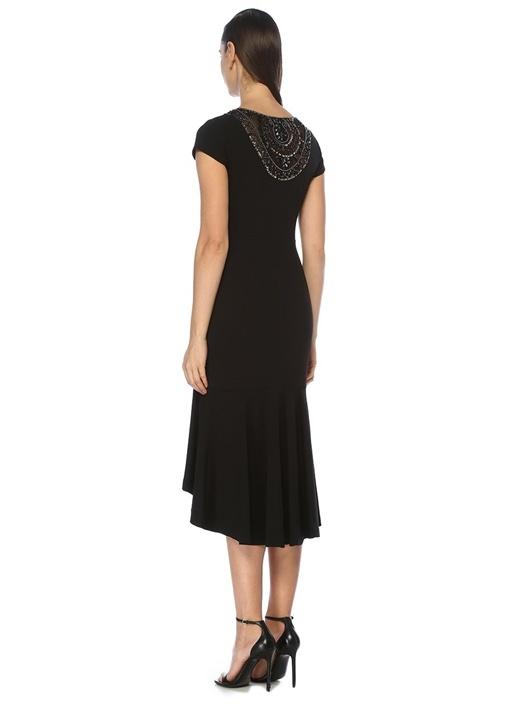 Siyah İşleme Detaylı Midi Krep Kokteyl Elbise