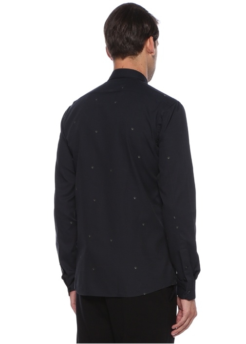 Finn Siyah Düğmeli Yaka Mikro Logolu Gömlek
