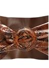 Kahverengi Yılan Derisi Dokulu Kadın Deri Kemer