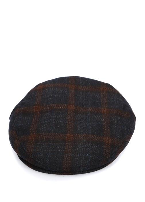 Lacivert Kareli Erkek Yün Şapka