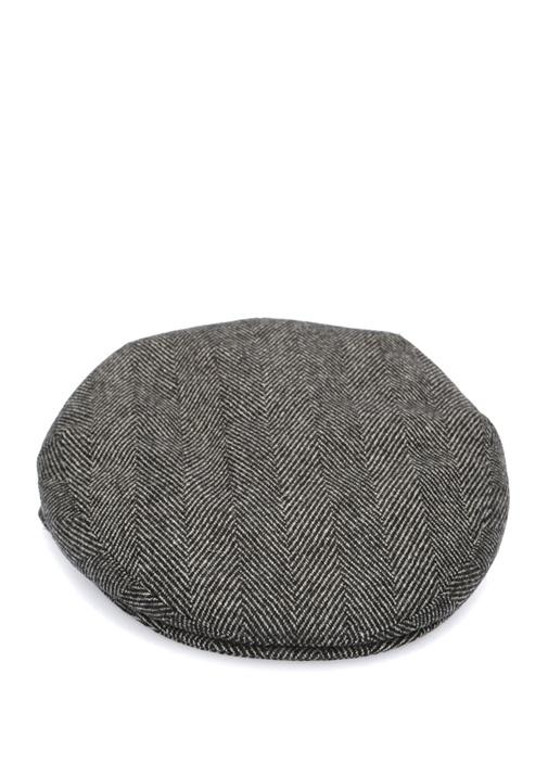 Gri Balıksırtı Desenli Erkek Yün Şapka