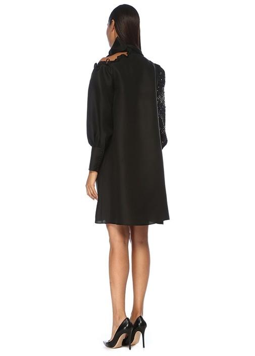 Siyah Omzu Açık İşleme Detaylı Mini İpek Elbise