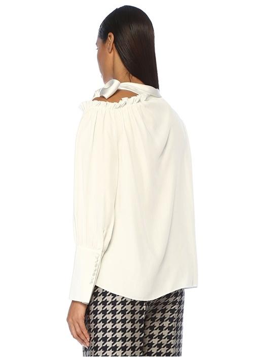 Beyaz Yakası Bağcıklı Tek Omzu Açık Saten Bluz