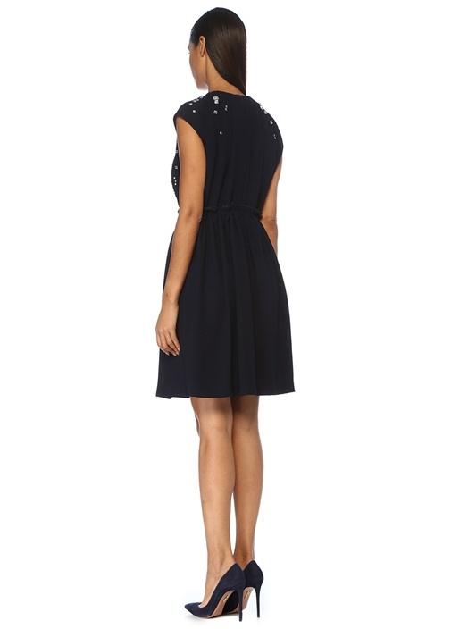 Lacivert Boncuk İşlemeli Büzgülü Mini Elbise