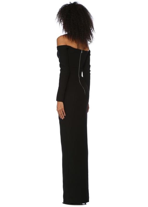 Siyah Düşük Omuzlu Maksi Krep Abiye Elbise