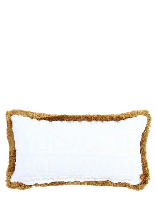Beyaz Logolu İşlemeli 45x25 cm Dekoratif Yastık