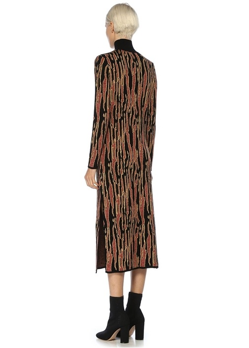 Lode Siyah Dik Yaka Desenli Midi Triko Elbise