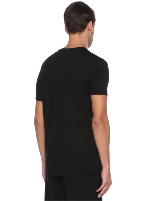 Siyah V Yaka Basic Jersey T-shirt