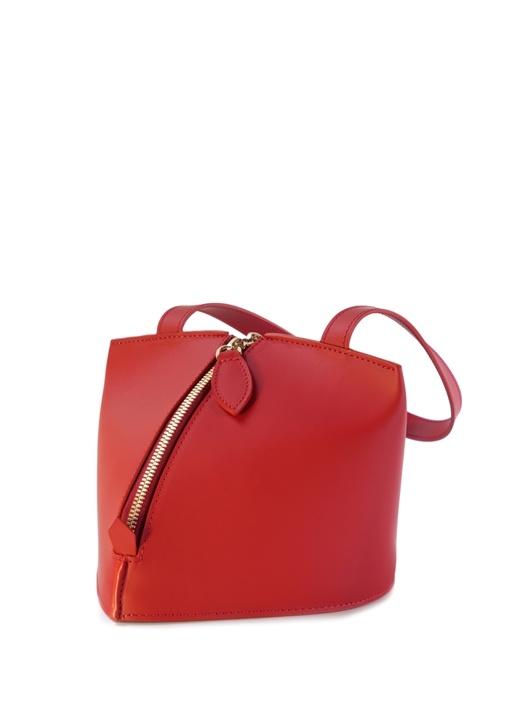Kırmızı Piremit Formlu Kadın Deri El Çantası
