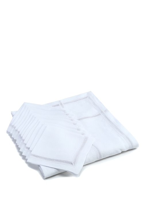 Beyaz Dantel Şeritli Peçeteli Keten Masa Örtüsü