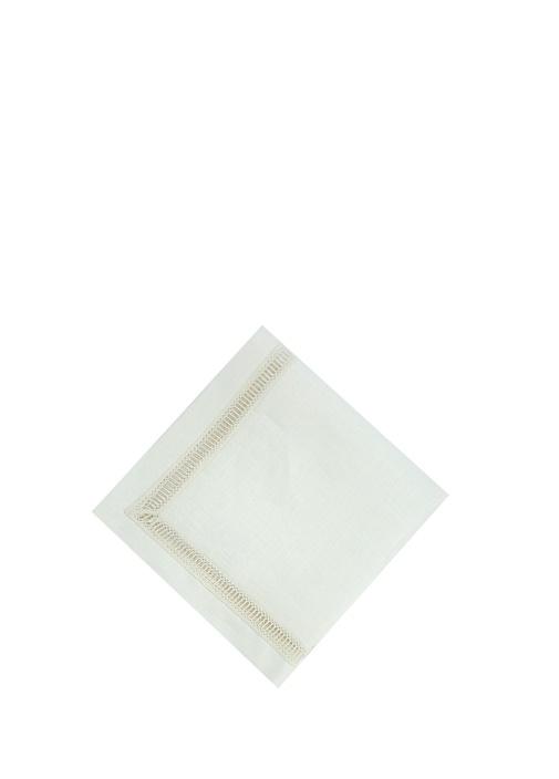 Beyaz Dantel Şeritli Keten Peçete