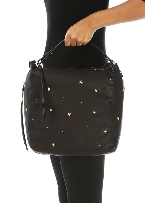 Mazzy Siyah Yıldız Troklu Kadın Deri Sırt Çantası
