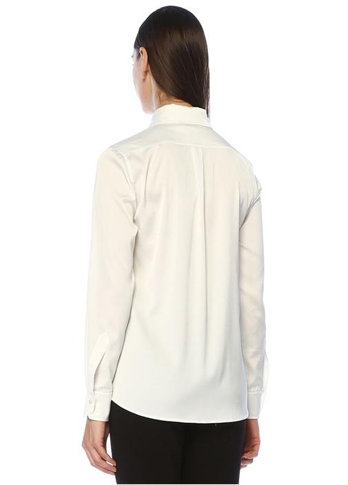 Beyaz İngiliz Yaka Saten Gömlek