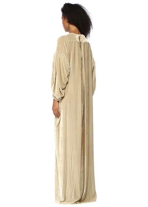 Nightingale Ekru Maksi Kadife Abiye Elbise