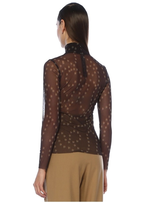Polly Antrasit Dik Yaka Desenli Transparan Bluz