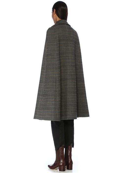 Charlotte Gri Ekoseli Pelerin Formlu Yün Palto