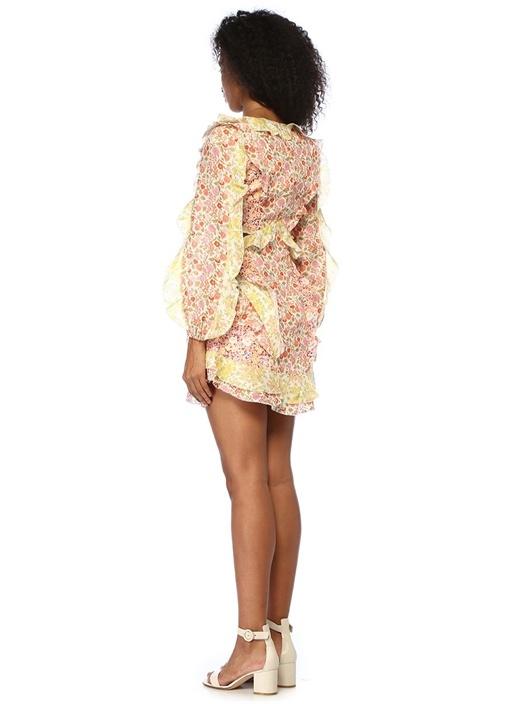 Goldie V Yaka Çiçekli Fırfırlı Mini Keten Elbise
