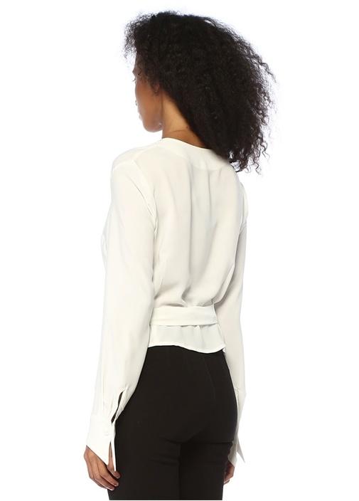 Shina Beyaz V Yaka Kruvaze Bluz
