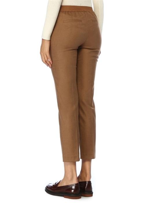 Kahverengi Beli Lastikli Dar Paça Pantolon
