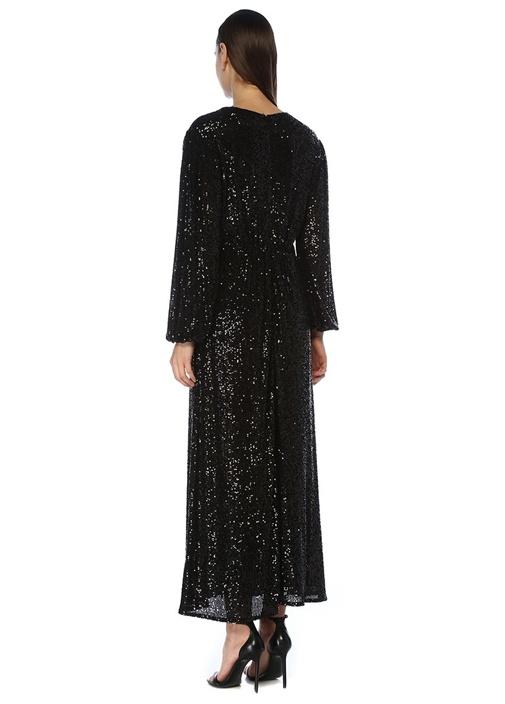 Siyah V Yaka İşlemeli Balon Kol Maksi Abiye Elbise