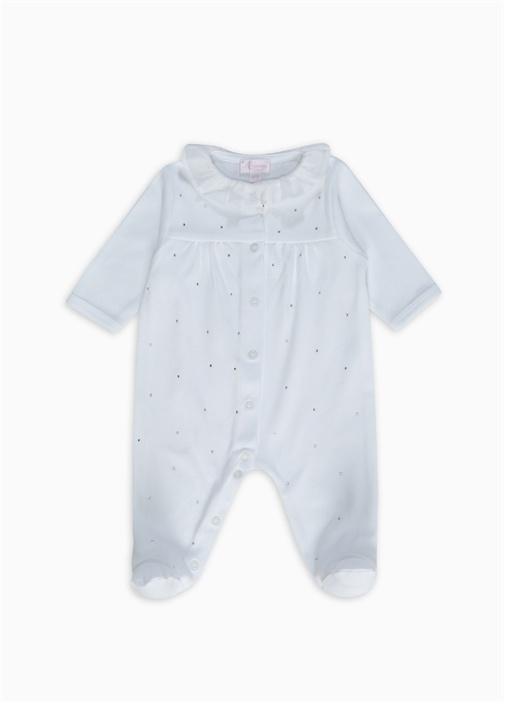 Beyaz Bebe Yaka Organik Pamuklu Kız Bebek Tulum