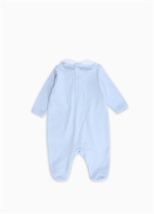 Mavi Beyaz Pile Detaylı Erkek Bebek Tulum