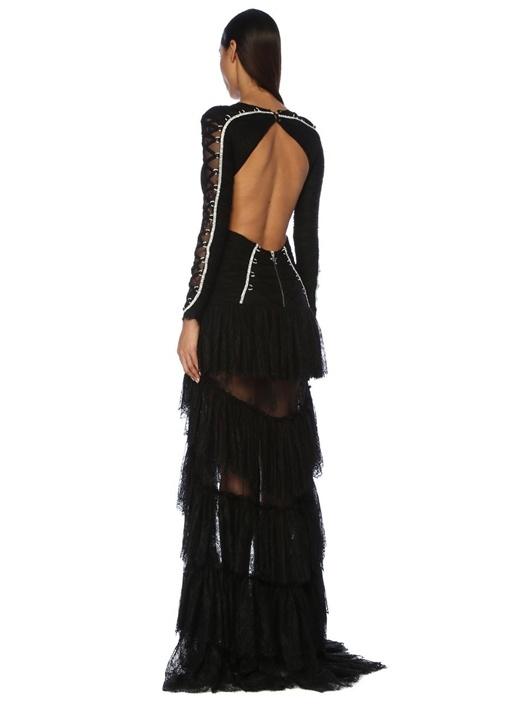 Siyah Taşlı Dekolteli Maksi Dantel Abiye Elbise