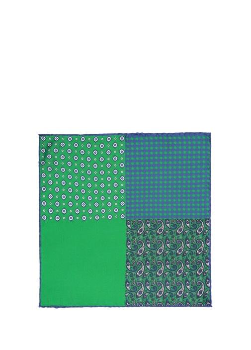 Yeşil Geometrik Formlu İpek Poşet Mendil