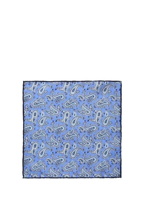 Mavi Şal Desenli İpek Poşet Mendil