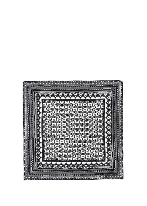Siyah Beyaz Geometrik Desenli İpek Poşet Mendil