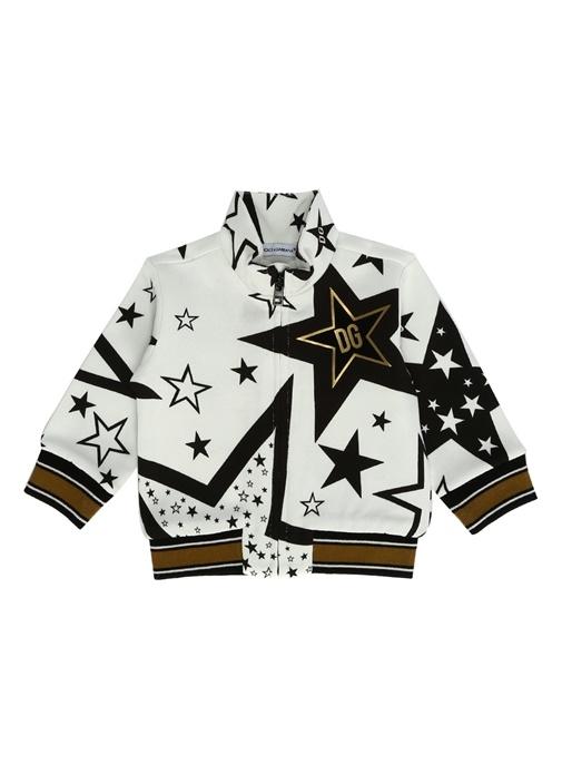 Beyaz Siyah Yıldız Baskılı Erkek Bebek Sweatshirt
