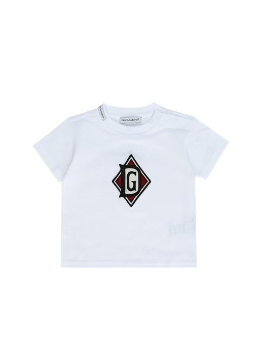 Beyaz Logo Patchli Erkek Bebek T-shirt