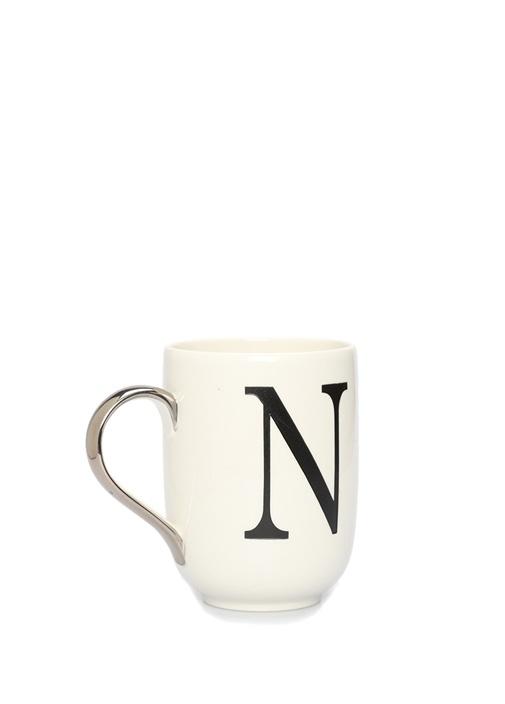 Beyaz Harf Baskılı Porselen Kupa