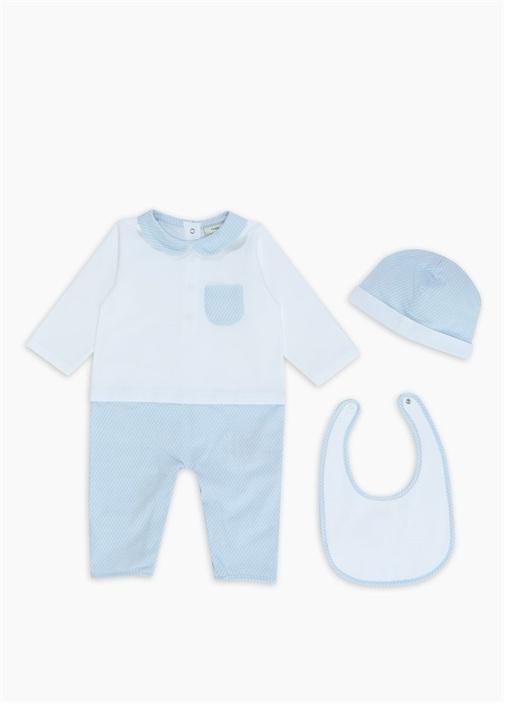 Mavi Mikro Logolu 3lü Erkek Bebek Tulum Seti
