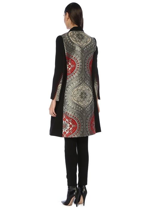 Nathalia Siyah Şal Yaka İşlemeli Cepli Palto