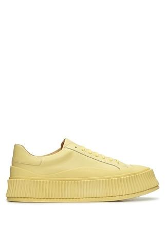 Jil Sander Kadın Sarı Kalın Tabanlı Deri Sneaker 40 EU female