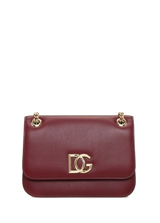 Dolce&Gabbana Kadın Millennials Bordo Logolu Deri Omuz Çantası EU female Standart