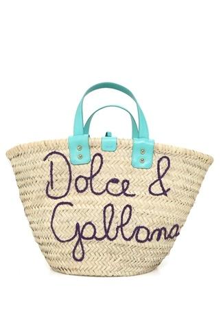Dolce&Gabbana Kadın Bej Mavi Logo Nakışlı Plaj Çantası EU