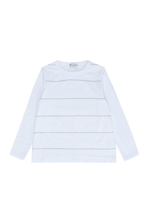 Beyaz Zincir Şerit Detaylı Kız Çocuk Sweatshirt