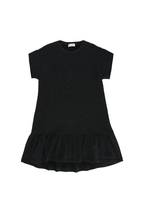 Antrasit Slogan Nakışlı Volanlı Kız Çocuk Elbise