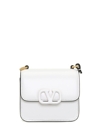 Valentino Garavani Kadın Micro Vsling Beyaz Logolu Deri Omuz Çantası EU female Standart