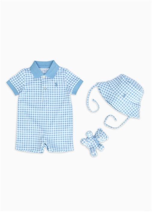 Mavi Beyaz Pötikareli 3lü Erkek Bebek Hediye Seti