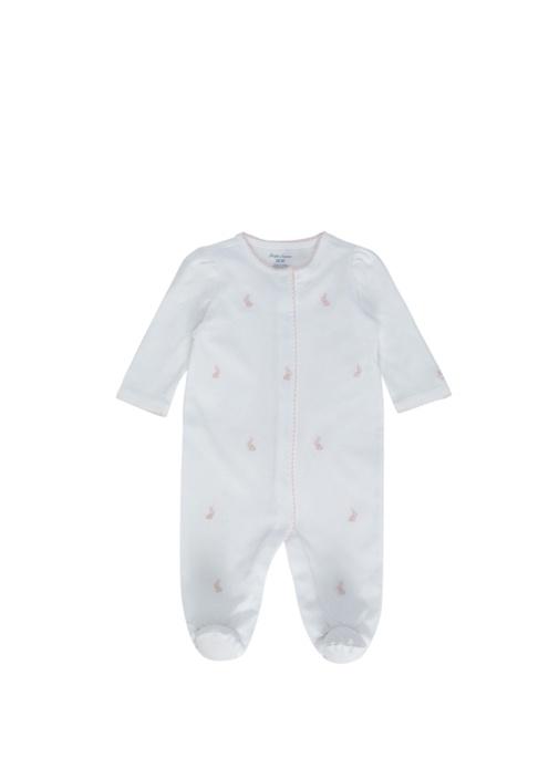 Beyaz Pembe Nakış Detaylı Kız Bebek Tulum