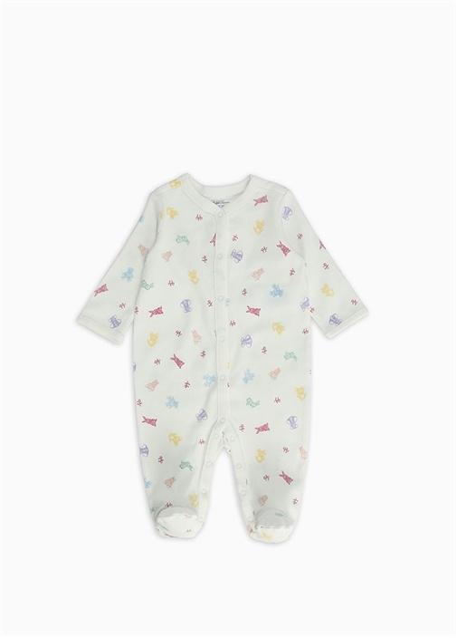 Beyaz Mikro Baskılı Kız Bebek Tulum