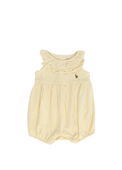 Sarı Beyaz Çizgili Fırfırlı Kız Bebek Tulum