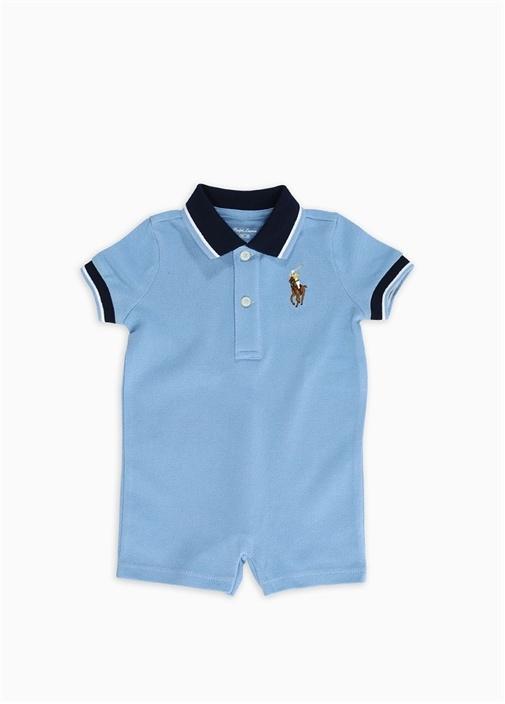 Mavi Logo Nakışlı Pike Dokulu Erkek Bebek Tulum