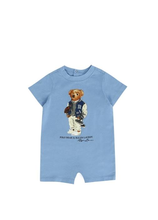 Mavi Ayıcık Baskılı Erkek Bebek Tulum