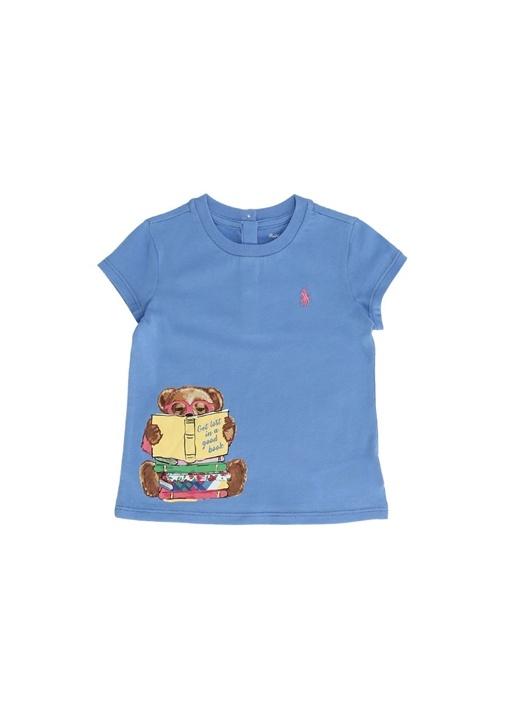 Mavi Ayıcık Baskılı Logolu Kız Bebek T-shirt